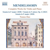 Audio CD Nomos Duo. Mendelssohn: Complete Works for Violin and Piano
