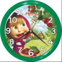 Часы. Маша и Медведь. Настенные. Круглые. Вишня