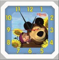 Часы. Маша и Медведь. Настенные. Квадратные. Подсолнухи