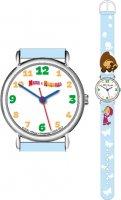 Часы. Маша и Медведь. Наручные. Следы (голубые)