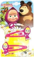 Маша и Медведь: Заколка клик-клак Маша 2 шт малиновая