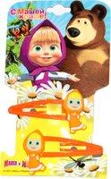 Маша и Медведь: Заколка клик-клак Маша 2 шт оранжевая